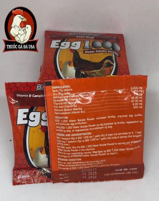 EGG 1000 - Vitamin cho gà mái đẻ, gà nọc - Hộp x 20 Gói